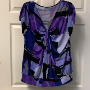 LANE BRYANT COLORFUL TOP WITH KNOTED FRONT